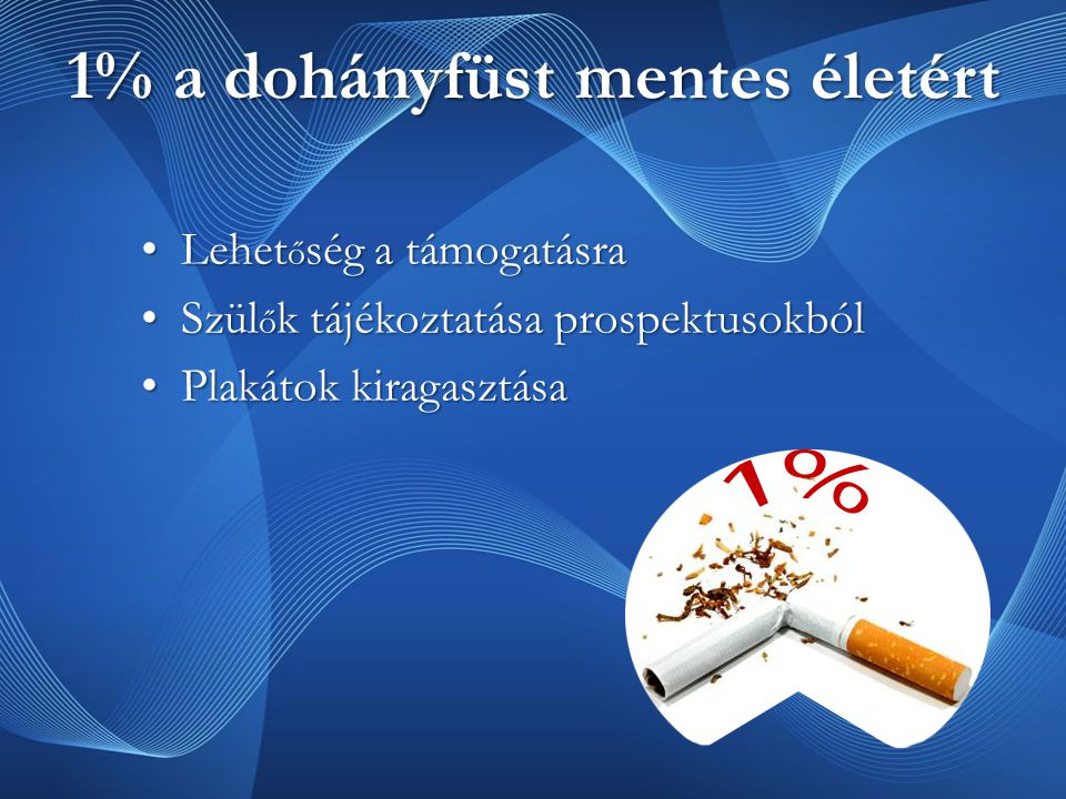 1% a dohányfüst mentes életért