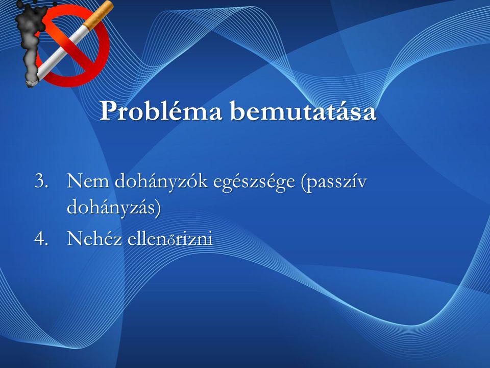 Probléma bemutatása Nem dohányzók egészsége (passzív dohányzás)