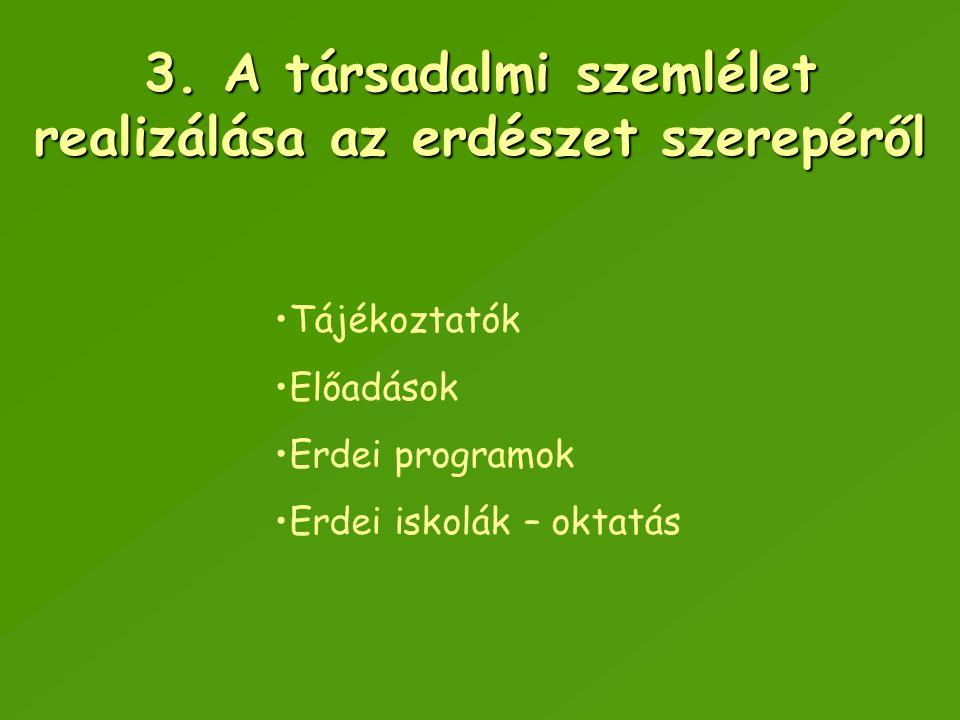 3. A társadalmi szemlélet realizálása az erdészet szerepéről