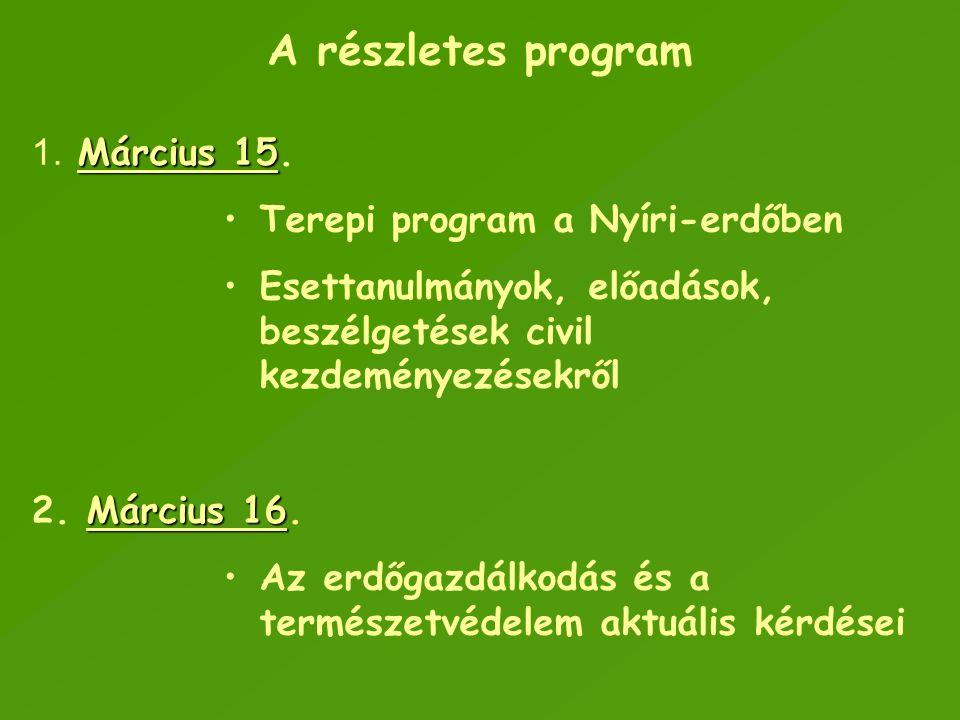 A részletes program Március 15. Terepi program a Nyíri-erdőben
