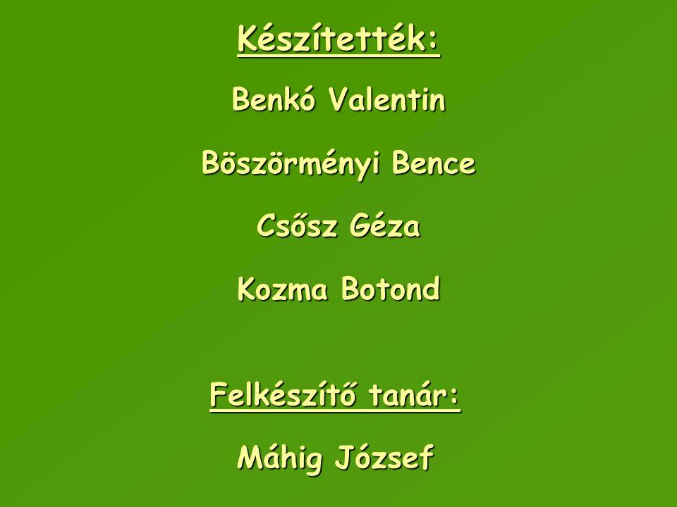 Készítették: Benkó Valentin Böszörményi Bence Csősz Géza Kozma Botond