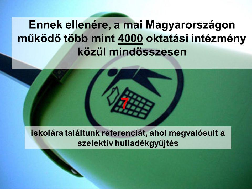 Ennek ellenére, a mai Magyarországon működő több mint 4000 oktatási intézmény közül mindösszesen