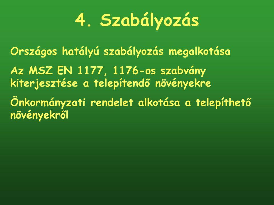 4. Szabályozás Országos hatályú szabályozás megalkotása