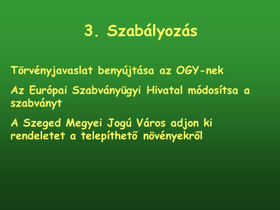3. Szabályozás Törvényjavaslat benyújtása az OGY-nek