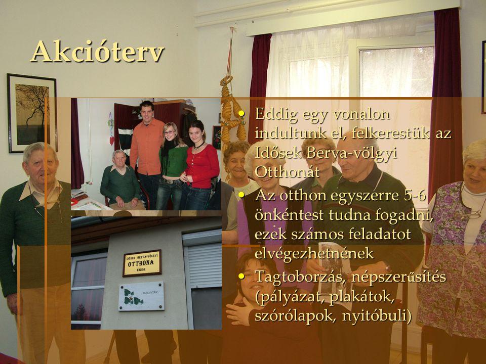 Akcióterv Eddig egy vonalon indultunk el, felkerestük az Idősek Berva-völgyi Otthonát.