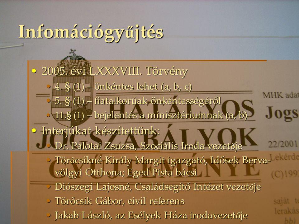 Infomációgyűjtés 2005. évi LXXXVIII. Törvény Interjúkat készítettünk: