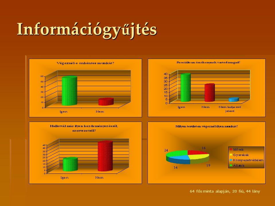 Információgyűjtés 64 fős minta alapján, 20 fiú, 44 lány