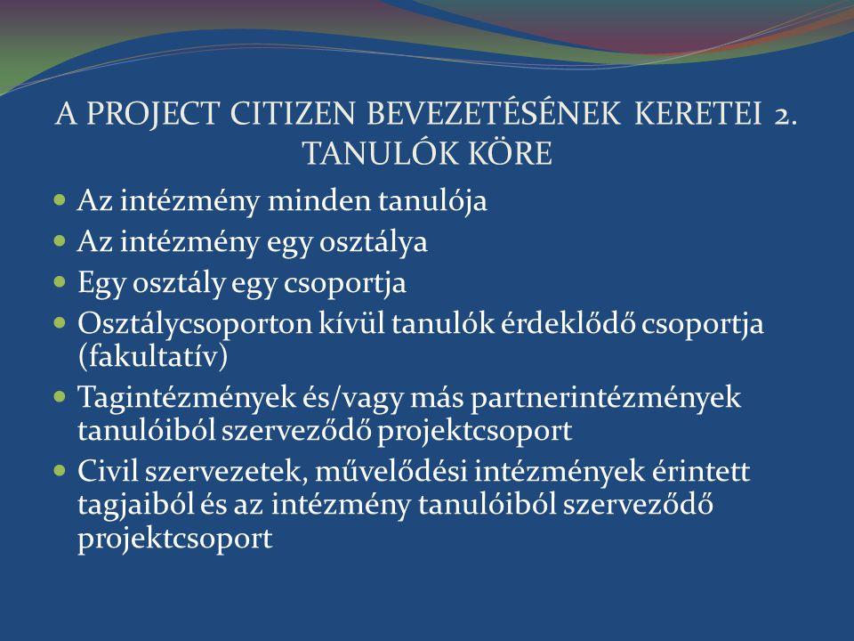 A PROJECT CITIZEN BEVEZETÉSÉNEK KERETEI 2. TANULÓK KÖRE