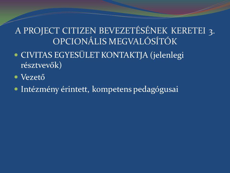 A PROJECT CITIZEN BEVEZETÉSÉNEK KERETEI 3. OPCIONÁLIS MEGVALÓSÍTÓK