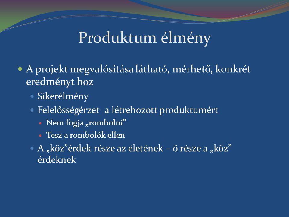 Produktum élmény A projekt megvalósítása látható, mérhető, konkrét eredményt hoz. Sikerélmény. Felelősségérzet a létrehozott produktumért.