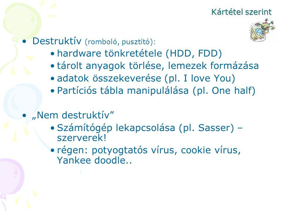Destruktív (romboló, pusztító): hardware tönkretétele (HDD, FDD)