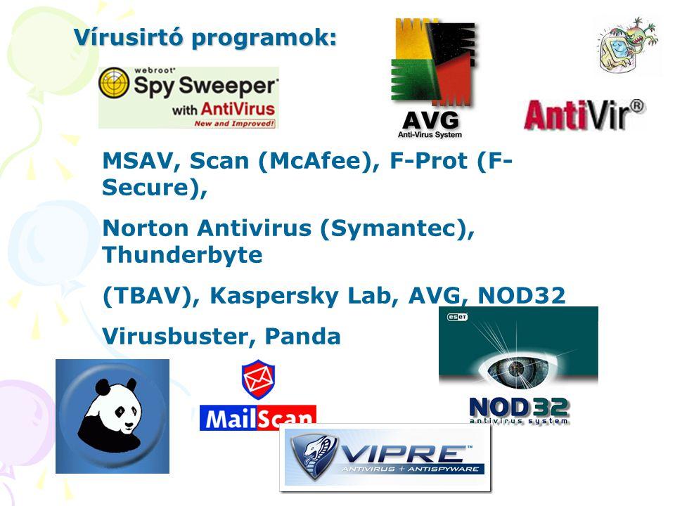 Vírusirtó programok: MSAV, Scan (McAfee), F-Prot (F-Secure), Norton Antivirus (Symantec), Thunderbyte.
