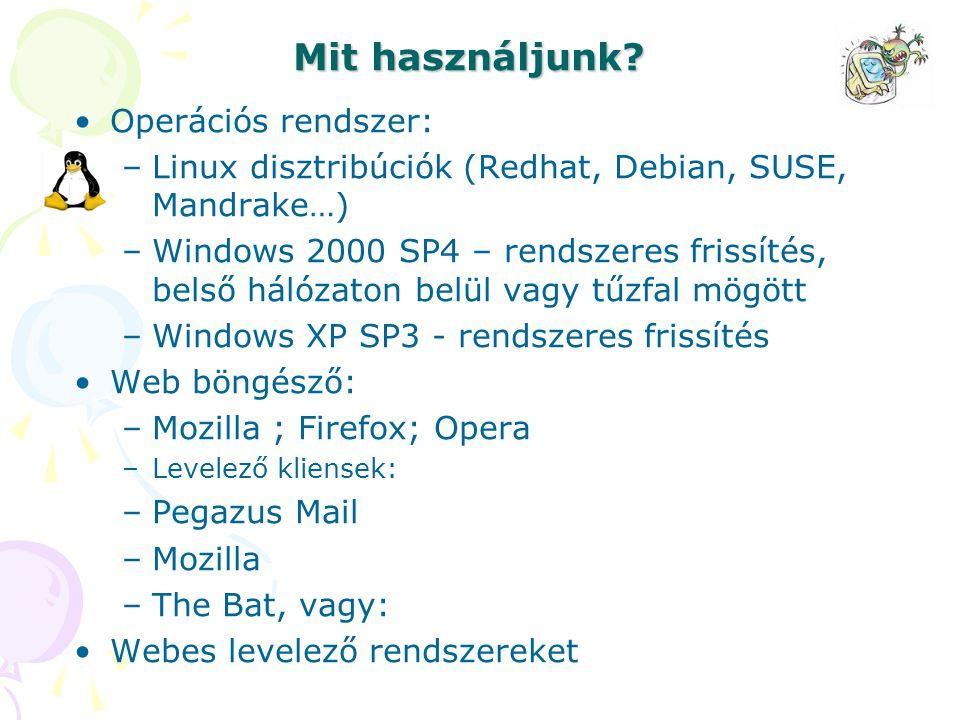 Mit használjunk Operációs rendszer: