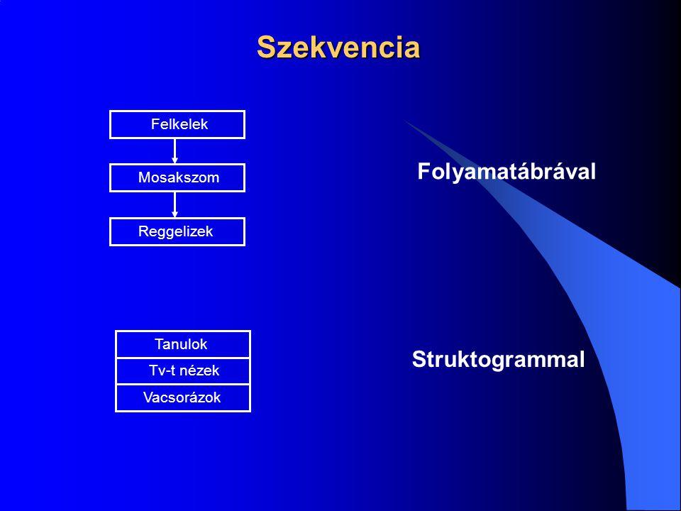 Szekvencia Folyamatábrával Struktogrammal Felkelek Mosakszom