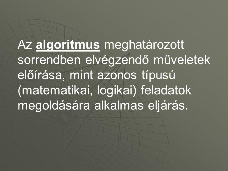 Az algoritmus meghatározott sorrendben elvégzendő műveletek előírása, mint azonos típusú (matematikai, logikai) feladatok megoldására alkalmas eljárás.