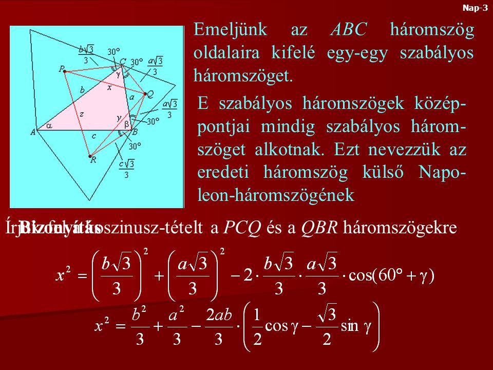 Írjuk fel a koszinusz-tételt a PCQ és a QBR háromszögekre Bizonyítás