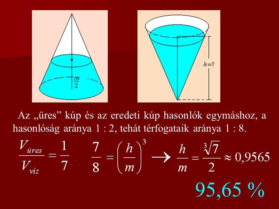 """Az """"üres kúp és az eredeti kúp hasonlók egymáshoz, a hasonlóság aránya 1 : 2, tehát térfogataik aránya 1 : 8."""