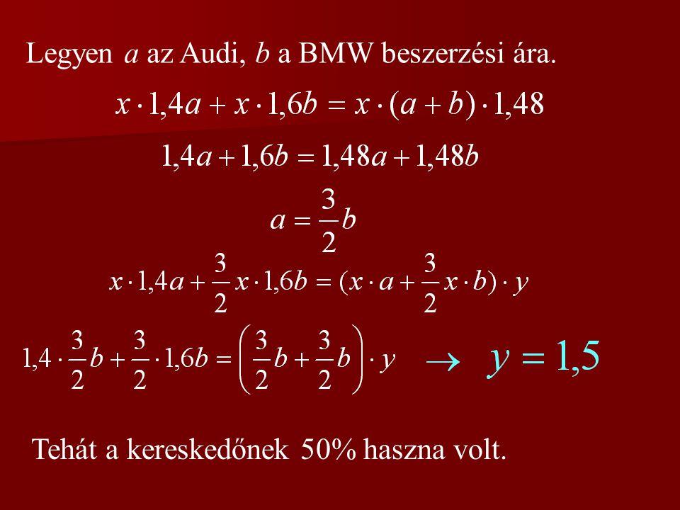 Legyen a az Audi, b a BMW beszerzési ára.