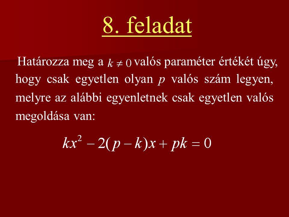 8. feladat Határozza meg a valós paraméter értékét úgy,