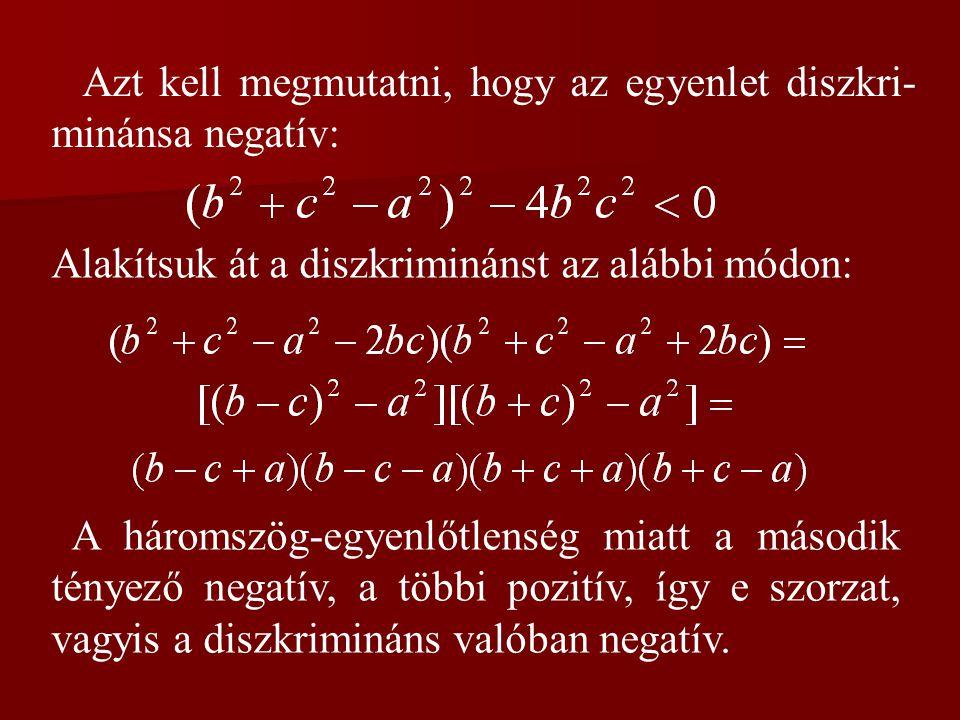 Azt kell megmutatni, hogy az egyenlet diszkri-minánsa negatív: