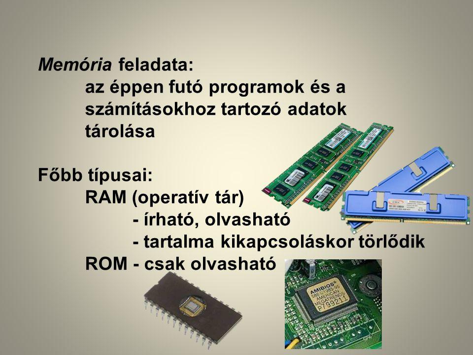 Memória feladata: az éppen futó programok és a. számításokhoz tartozó adatok. tárolása. Főbb típusai: