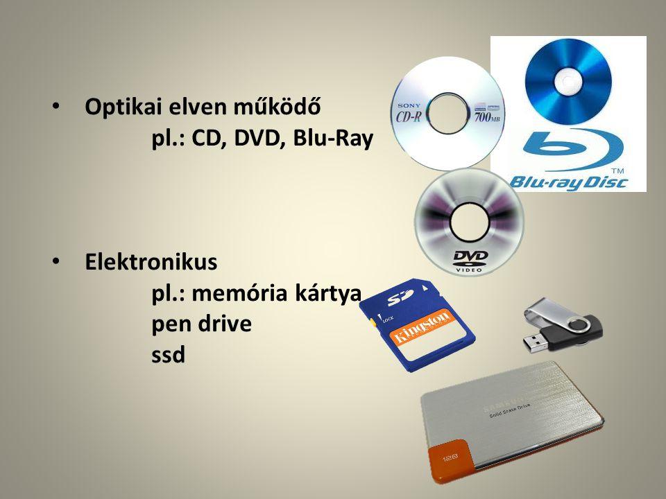 Optikai elven működő pl.: CD, DVD, Blu-Ray Elektronikus pen drive ssd