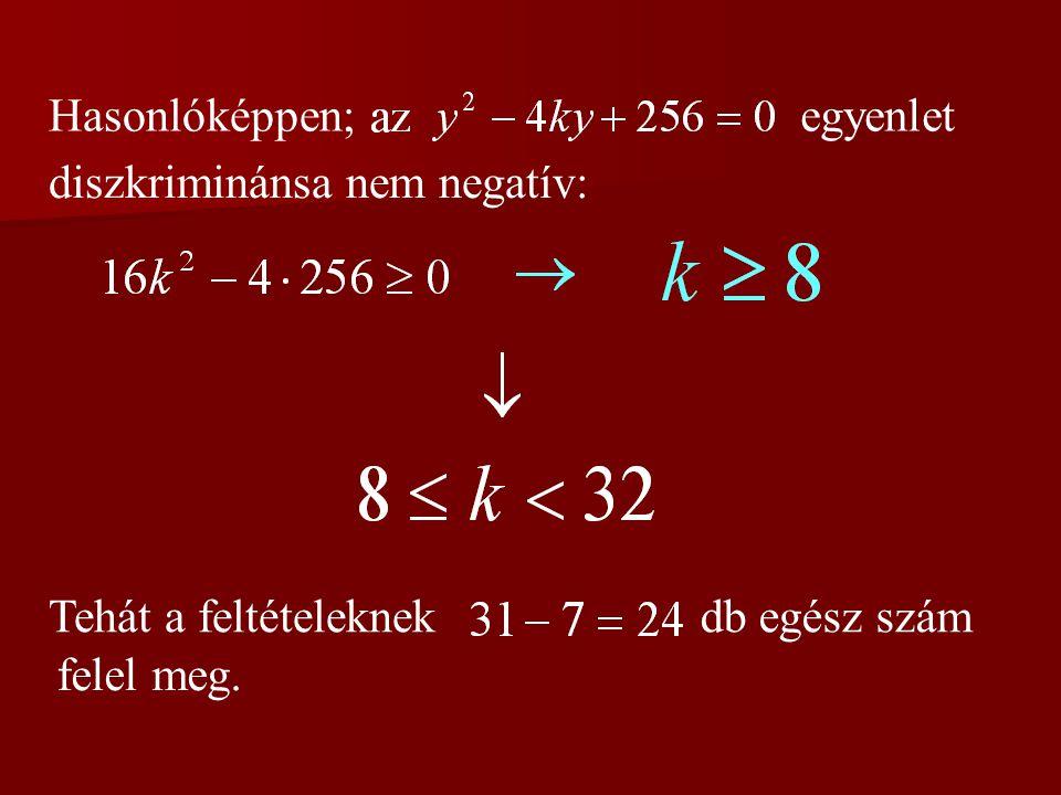 Hasonlóképpen; egyenlet diszkriminánsa nem negatív: Tehát a feltételeknek db egész szám felel meg.