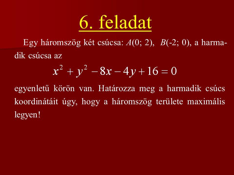6. feladat Egy háromszög két csúcsa: A(0; 2), B(-2; 0), a harma-dik csúcsa az.