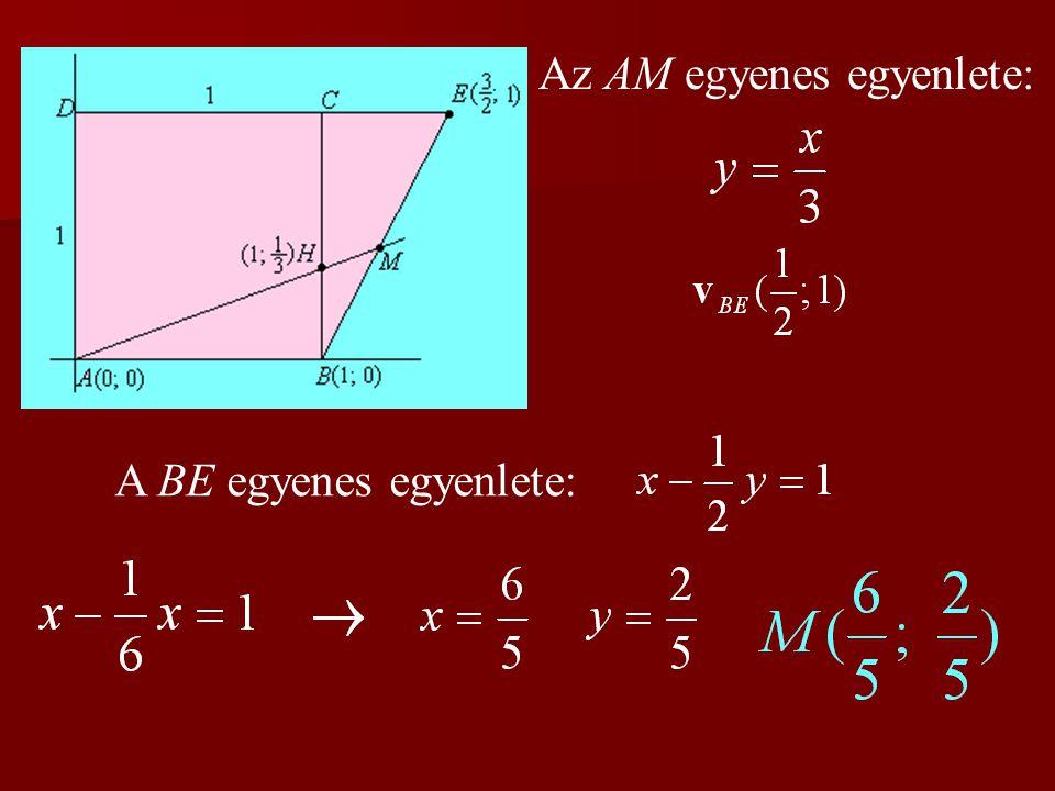 Az AM egyenes egyenlete:
