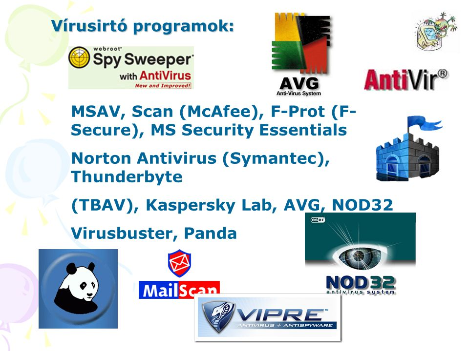 Vírusirtó programok: MSAV, Scan (McAfee), F-Prot (F-Secure), MS Security Essentials. Norton Antivirus (Symantec), Thunderbyte.