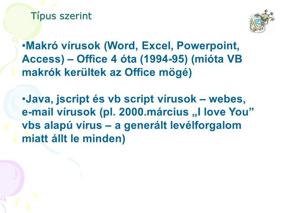 Típus szerint Makró vírusok (Word, Excel, Powerpoint, Access) – Office 4 óta (1994-95) (mióta VB makrók kerültek az Office mögé)