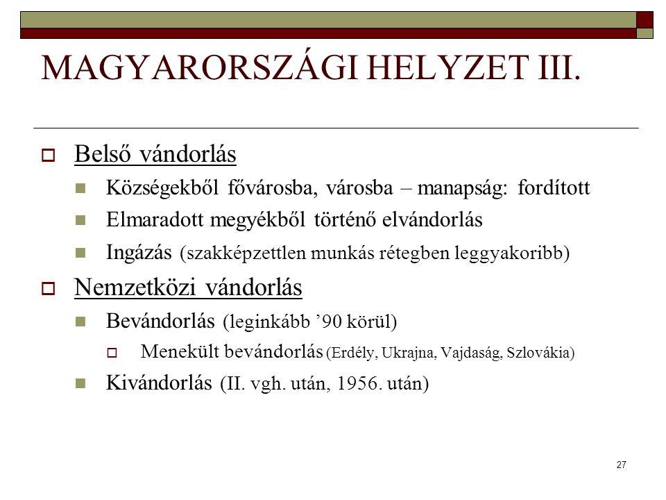 MAGYARORSZÁGI HELYZET III.