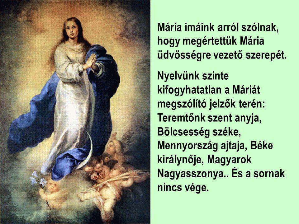 Mária imáink arról szólnak, hogy megértettük Mária üdvösségre vezető szerepét.
