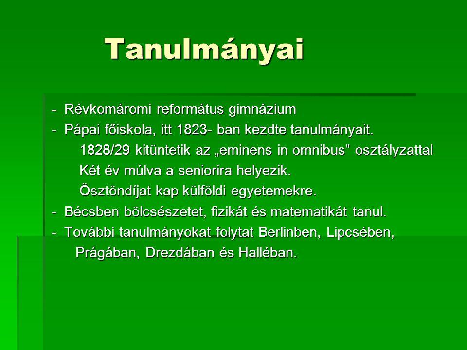 Tanulmányai - Révkomáromi református gimnázium