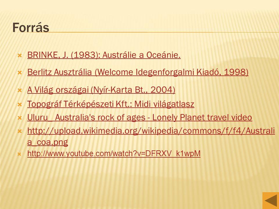 Forrás BRINKE, J. (1983): Austrálie a Oceánie.
