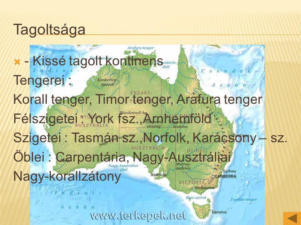 Tagoltsága - Kissé tagolt kontinens Tengerei :