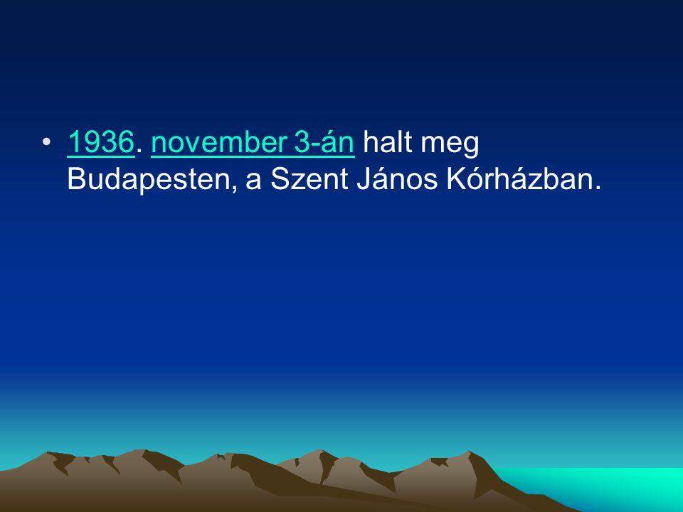 1936. november 3-án halt meg Budapesten, a Szent János Kórházban.