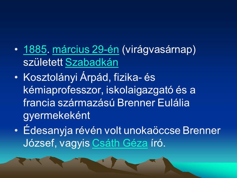 1885. március 29-én (virágvasárnap) született Szabadkán
