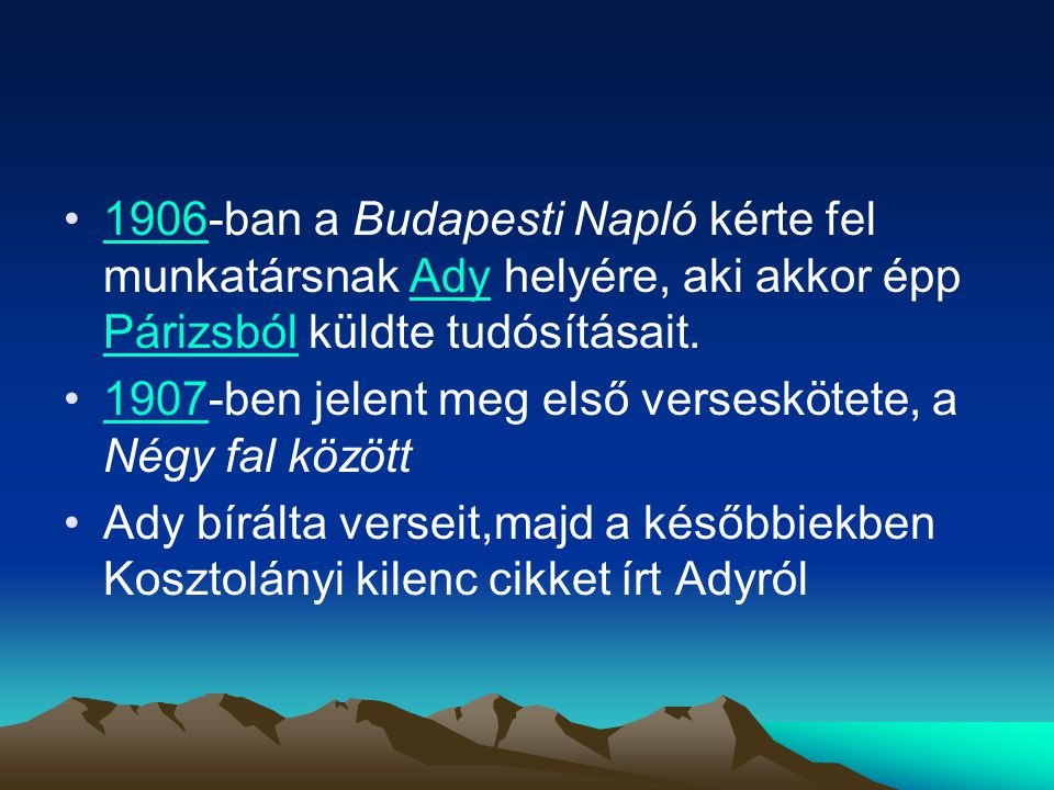 1906-ban a Budapesti Napló kérte fel munkatársnak Ady helyére, aki akkor épp Párizsból küldte tudósításait.