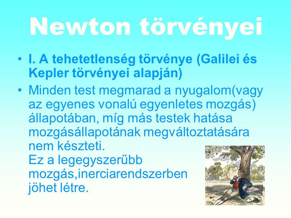 Newton törvényei I. A tehetetlenség törvénye (Galilei és Kepler törvényei alapján)