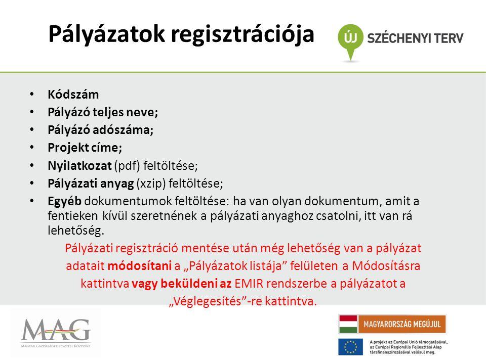 Pályázatok regisztrációja