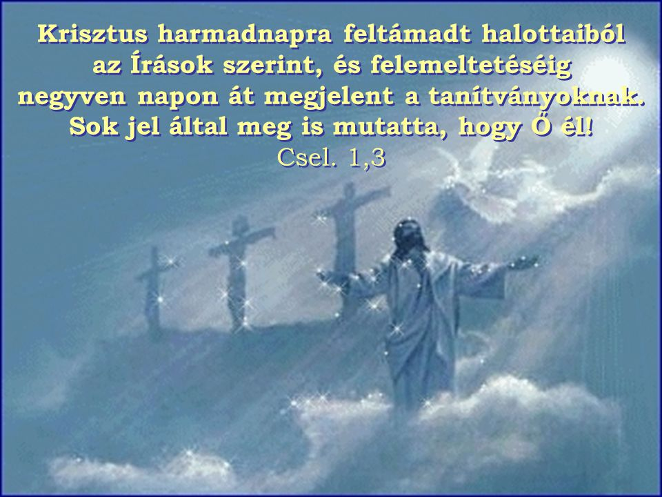 Krisztus harmadnapra feltámadt halottaiból az Írások szerint, és felemeltetéséig negyven napon át megjelent a tanítványoknak.