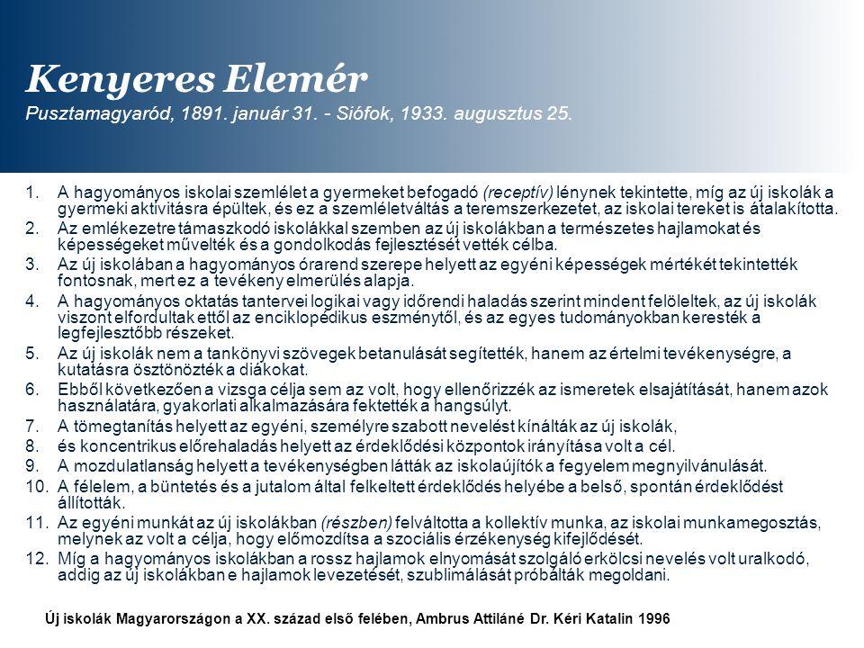 Kenyeres Elemér Pusztamagyaród, 1891. január 31. - Siófok, 1933
