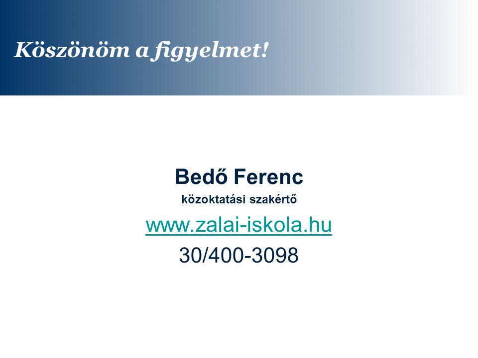 Köszönöm a figyelmet! Bedő Ferenc www.zalai-iskola.hu 30/400-3098