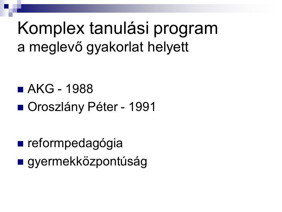 Komplex tanulási program a meglevő gyakorlat helyett