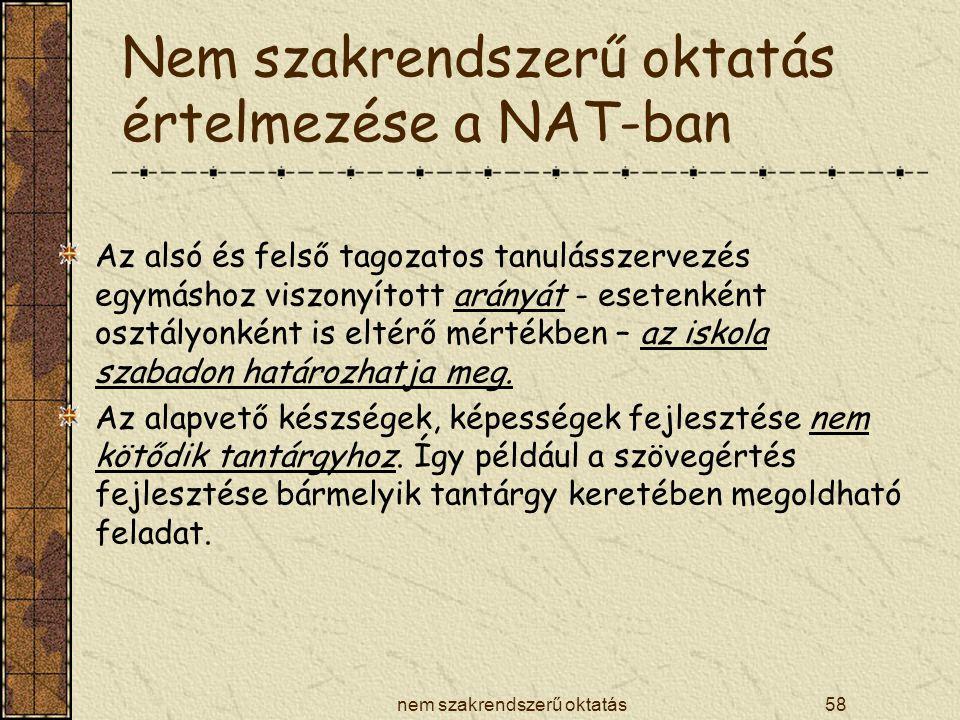 Nem szakrendszerű oktatás értelmezése a NAT-ban