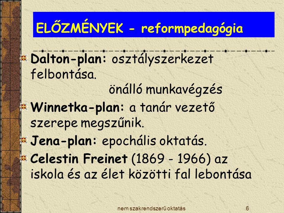 ELŐZMÉNYEK - reformpedagógia