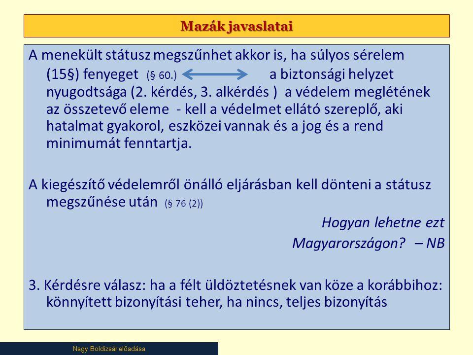 Mazák javaslatai
