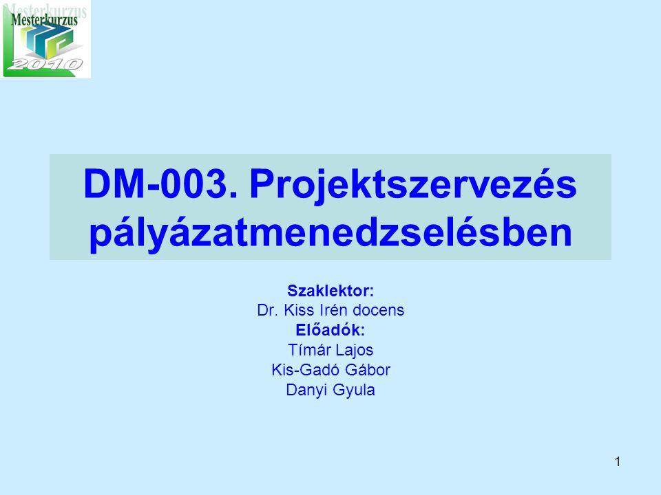 DM-003. Projektszervezés pályázatmenedzselésben