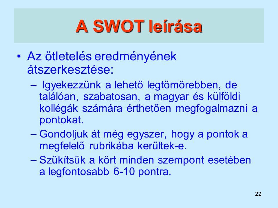 A SWOT leírása Az ötletelés eredményének átszerkesztése: